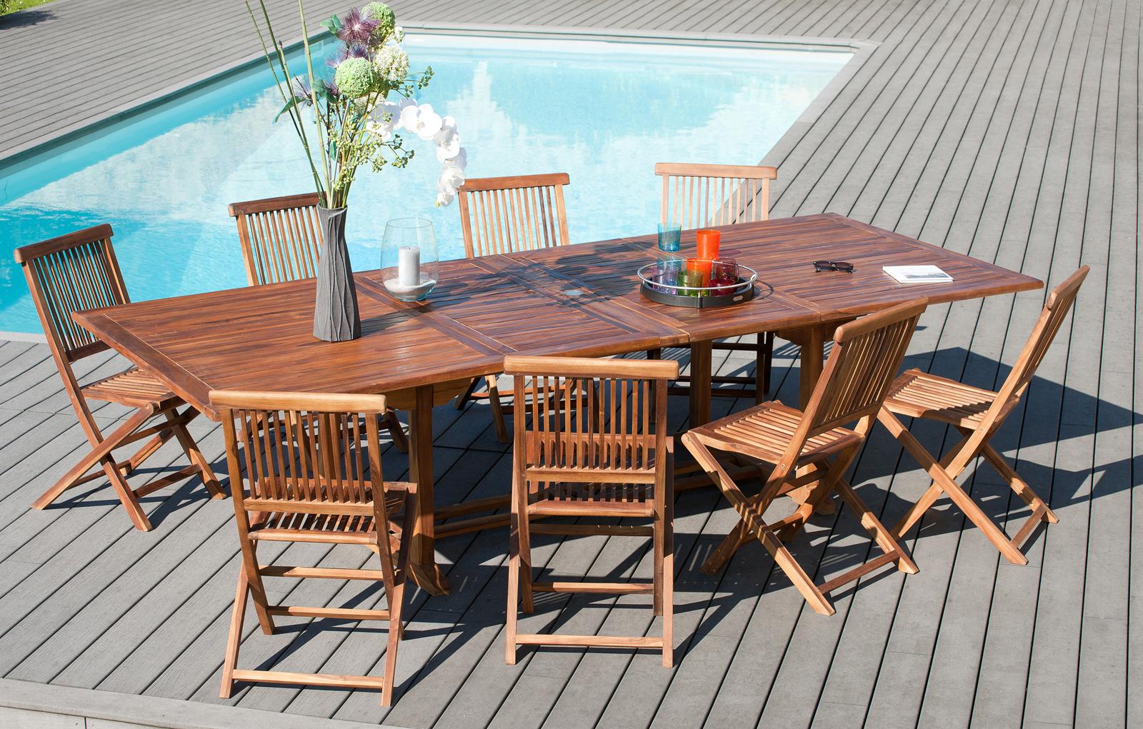 salon de jardin en teck massif huile table extensible 200 300x120x75cm 8 chaises macao ensemble repas pier import