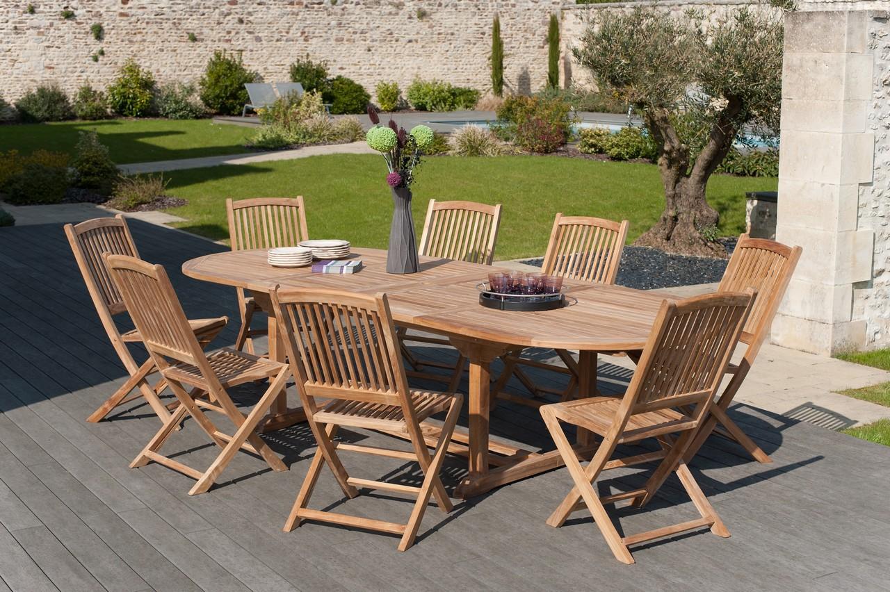 salon de jardin en teck table ovale 200 300cm 8 chaises summer