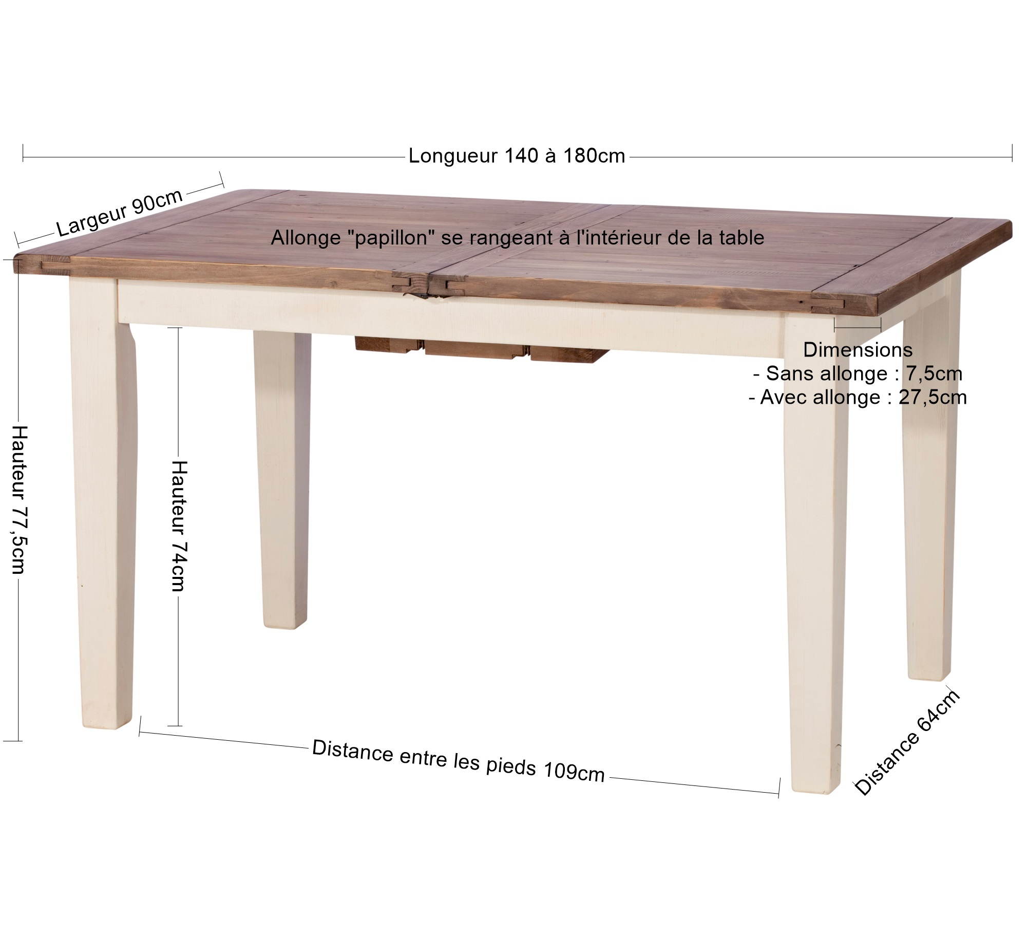 table a manger extensible bois recycle 140 180 bristol