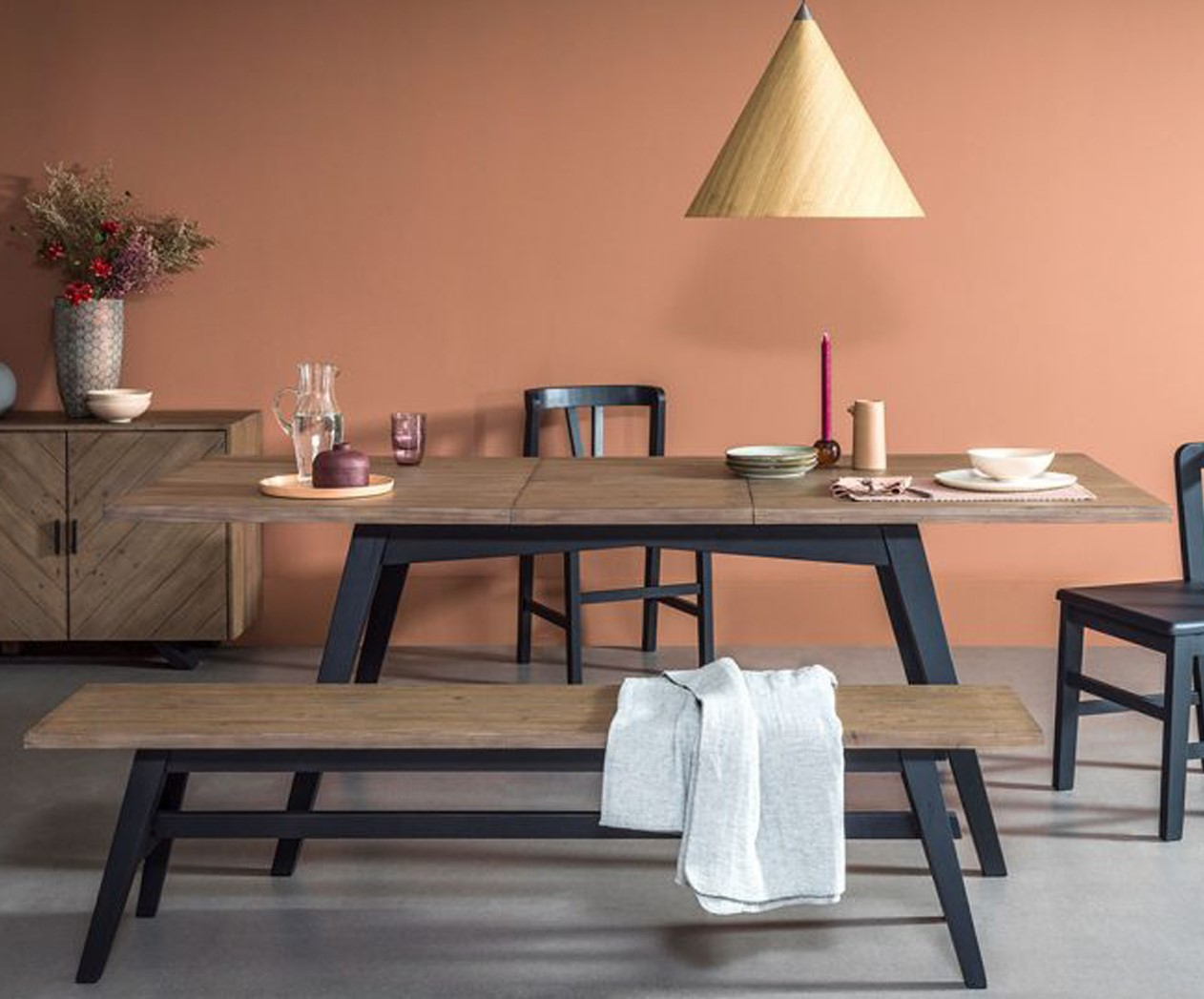 table a manger extensible bois recycle 170 220 cm vittoria