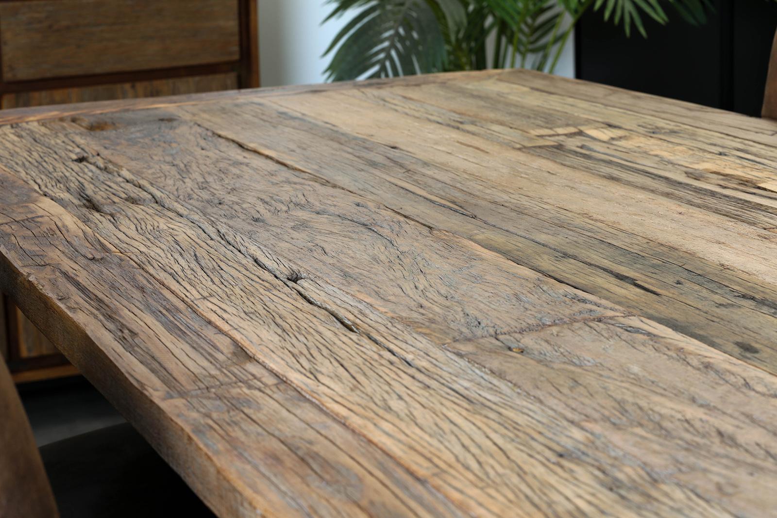 table a manger industrielle bois recycle brut plaque verre 180 cm koursk