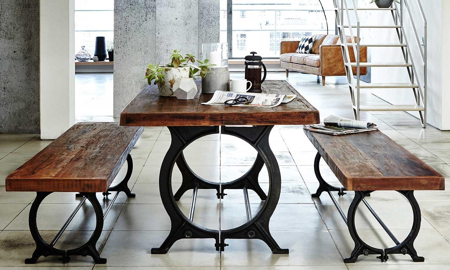 table a manger industrielle vintage bois recycle 180 cm leeds