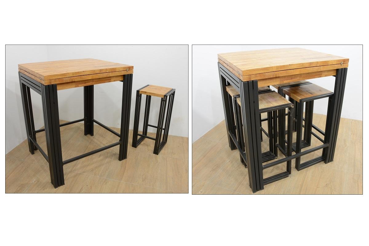 table bar mange debout rectangle extensible hevea recycle blanchi et metal noirci 90 180x80x105cm docker