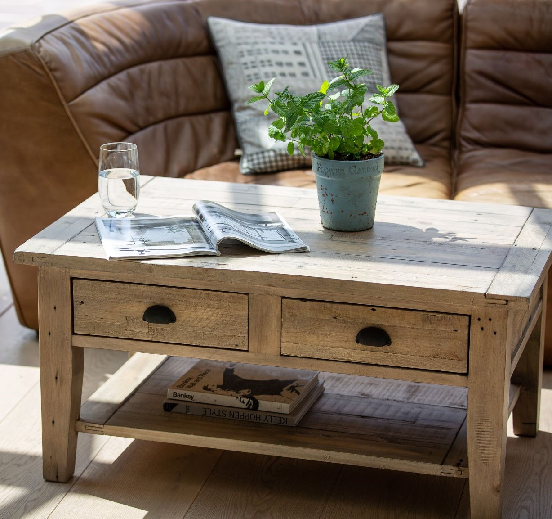 table basse double plateau bois recycle clair salerne