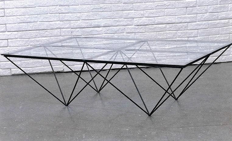table basse rectangulaire design verre et metal 142x92cm louvre