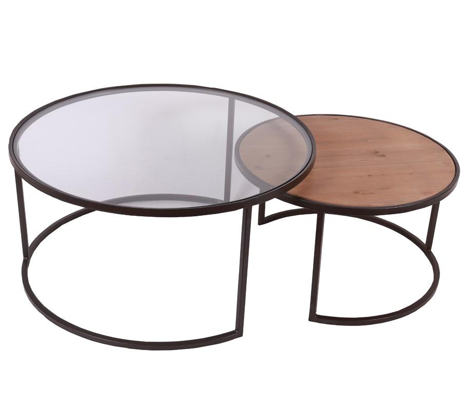 table basse ronde gigogne bois verre metal cairns lot de 2