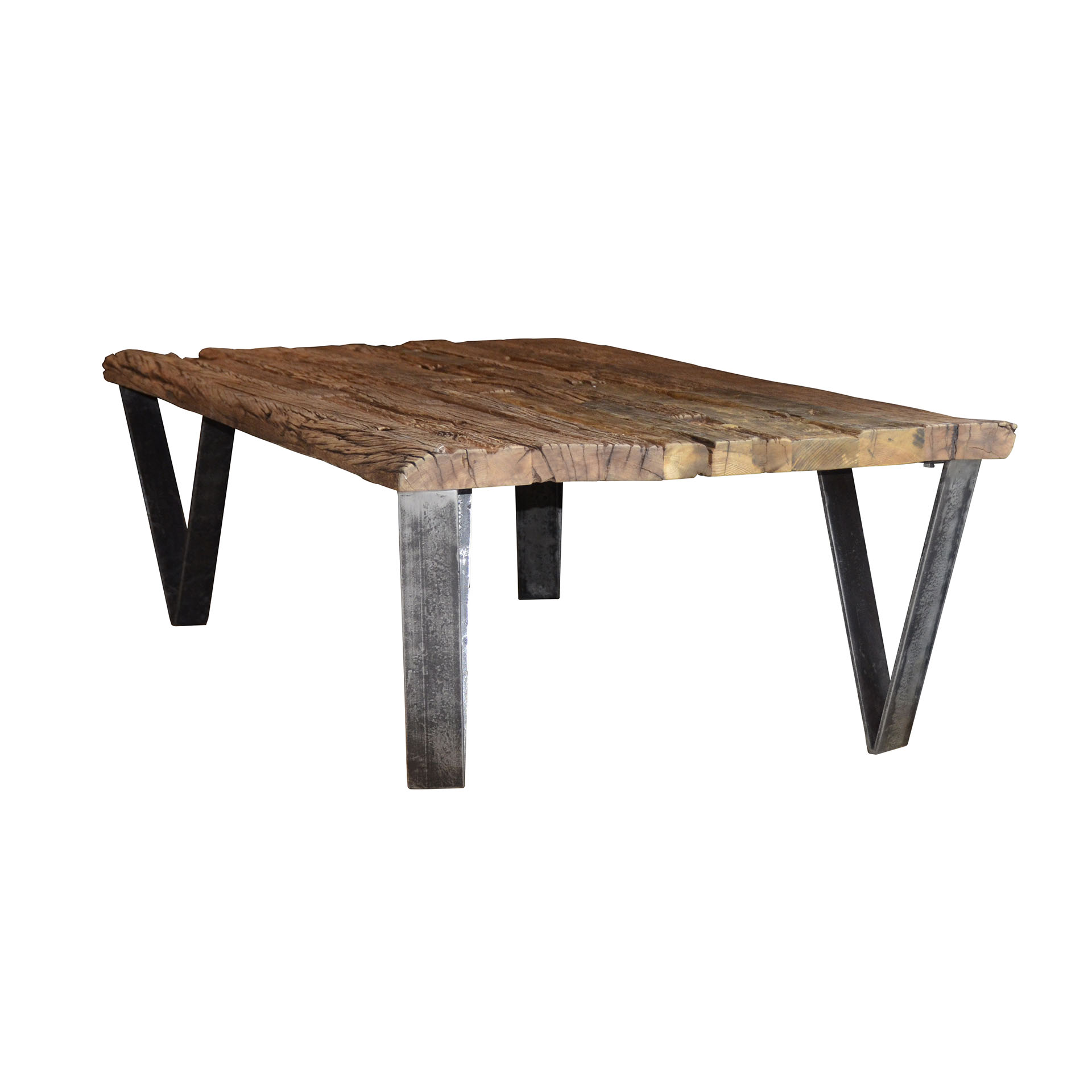 table basse teck recycle pieds metal 135x75cm omsk