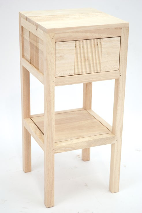 table de chevet haute hevea massif 1 tiroir 55cm gala