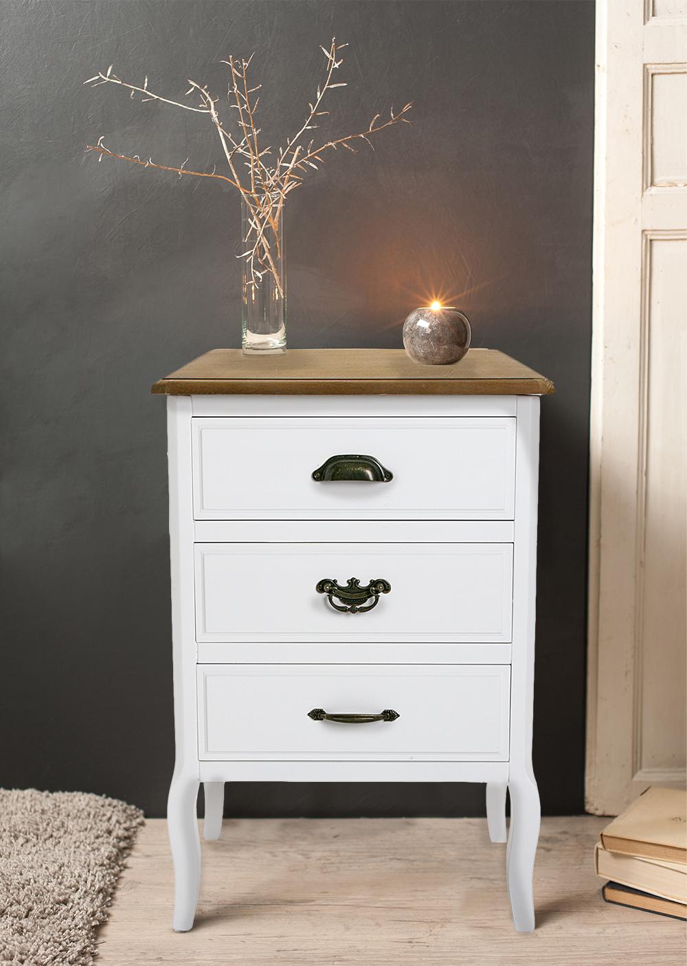 table de chevet romantique 3 tiroirs en bois blanc et plateau bois naturel aux poignees mixees pieds galbes 48x35x69cm caline