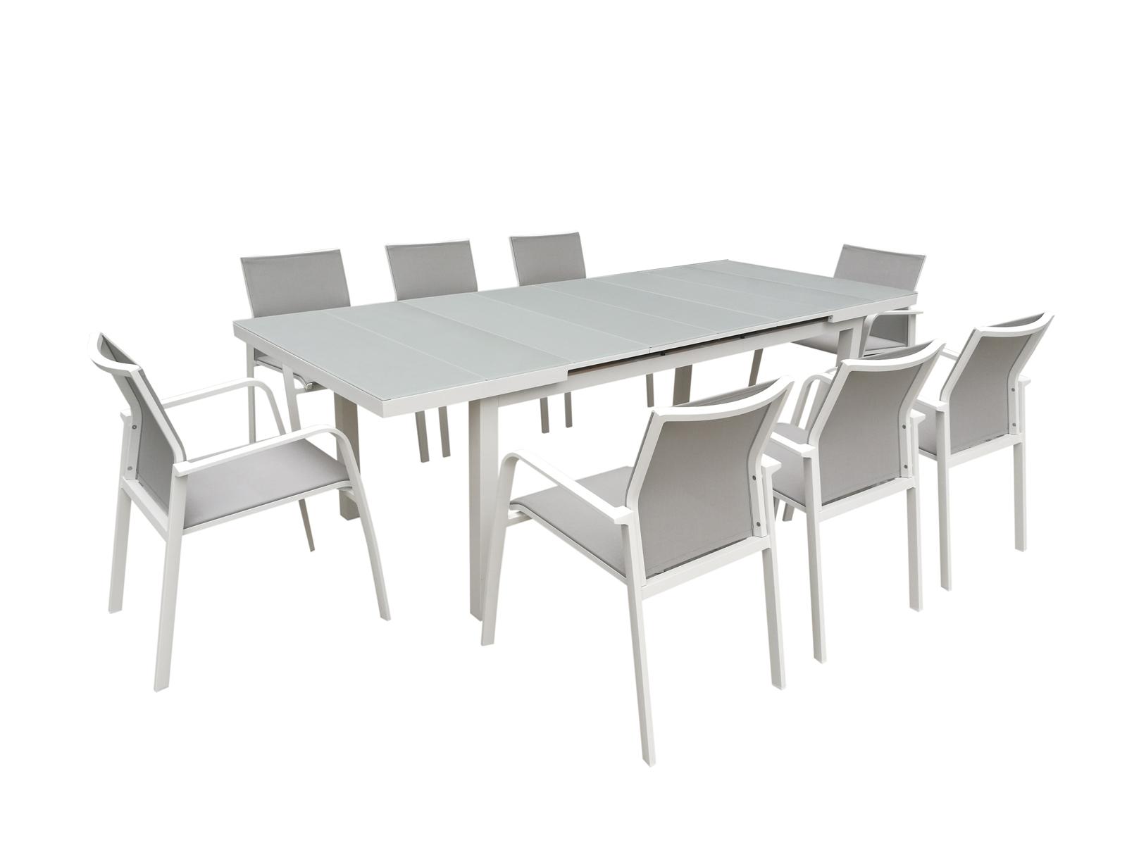 table de jardin extensible nice 180 240cm en aluminium blanc gris et plateau verre blanc gris