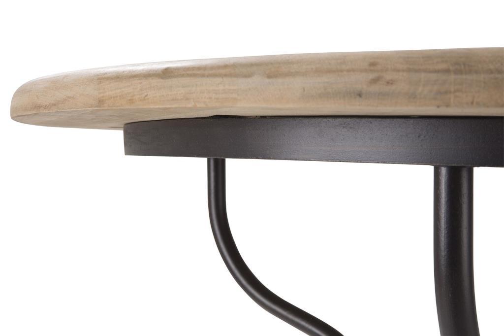 table ronde 120cm chene et fer forge cigale
