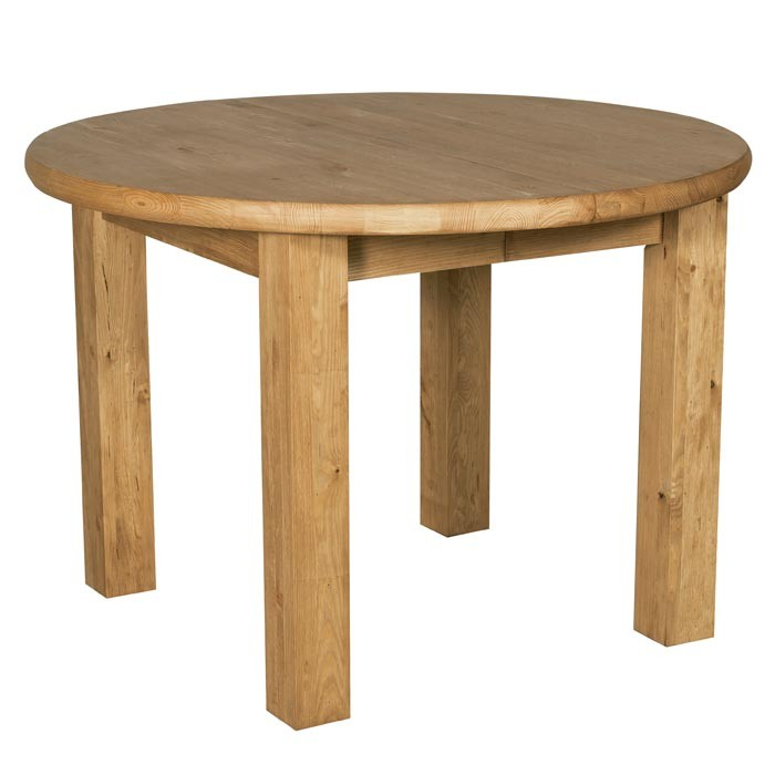 table ronde pieds carres 110 150cm pin cire hannover