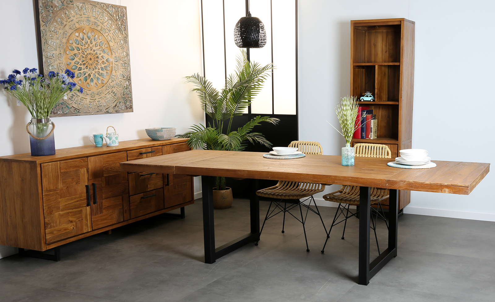 table salle a manger bois brut teck 160