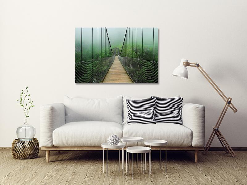 tableau photo plexiglas pont suspendu en foret