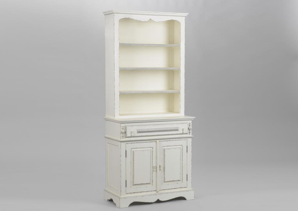 vaisselier bois ancien blanc 2 portes classique chic ornement l 80 x p 40 x h 180 amadeus