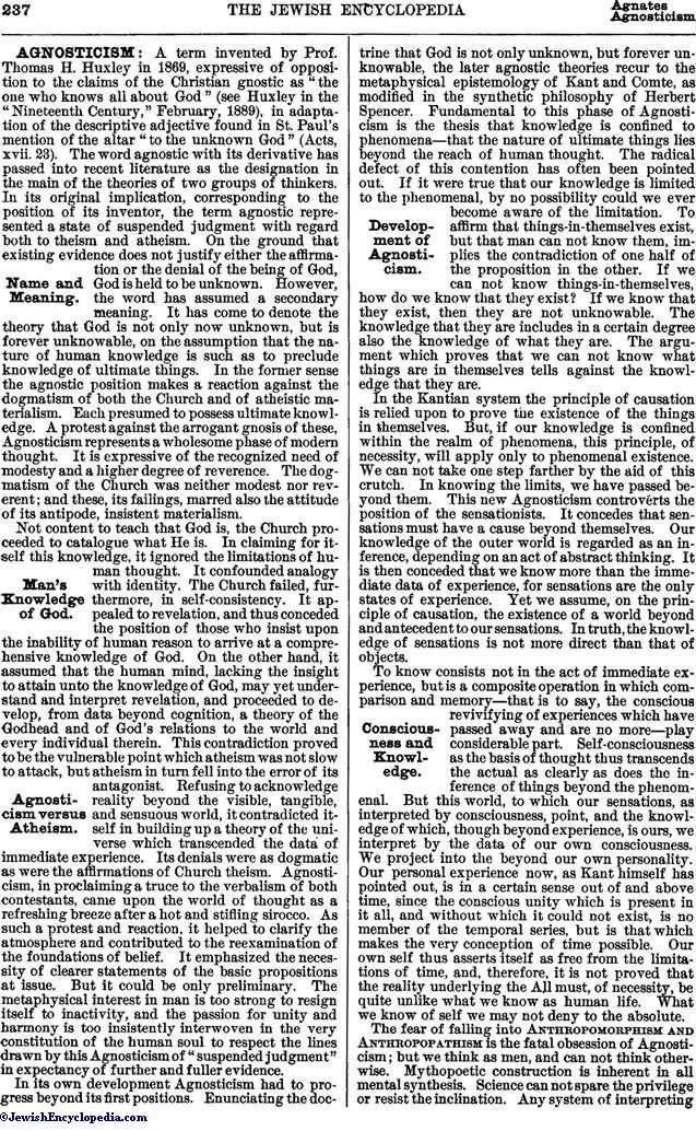 AGNOSTICISM - JewishEncyclopedia.com