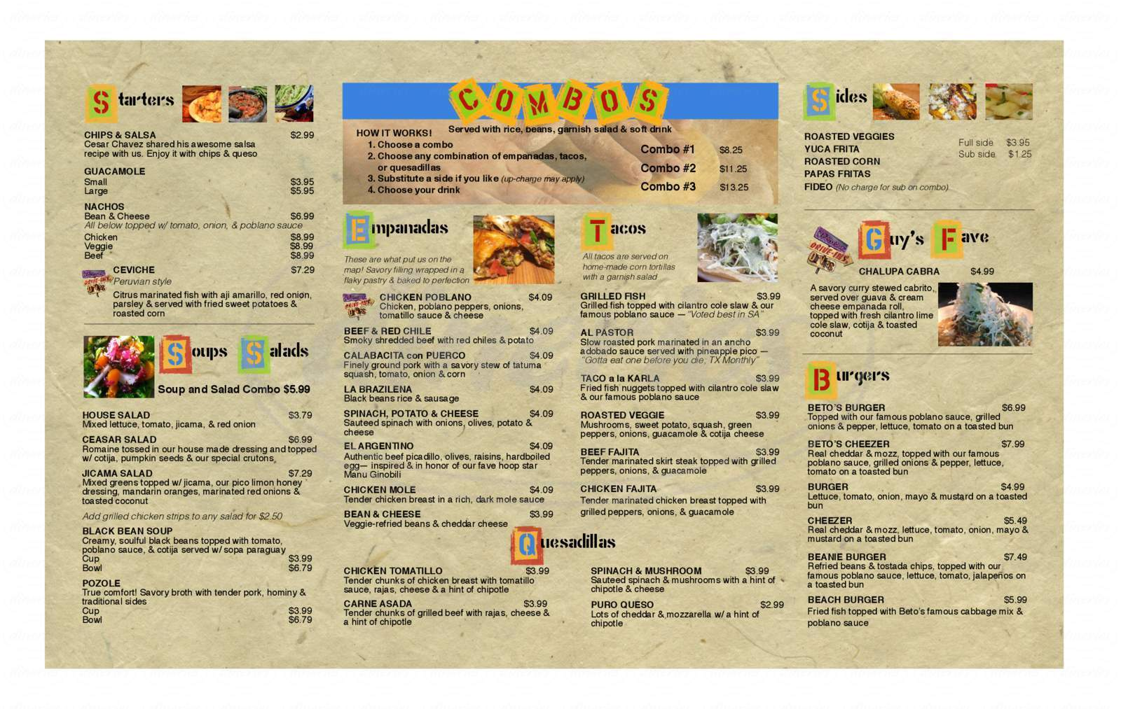 Betos Comida Latina Menu  San Antonio  Dineries