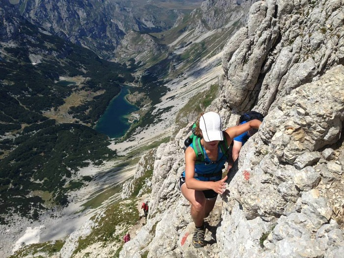 This looks like the scariest climb of my life, but that's just the camera angle. Bobotov Kuk, Durmitor, Montenegro