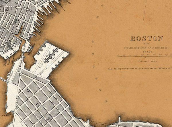 Vintage Map of Boston 1842 United States of America