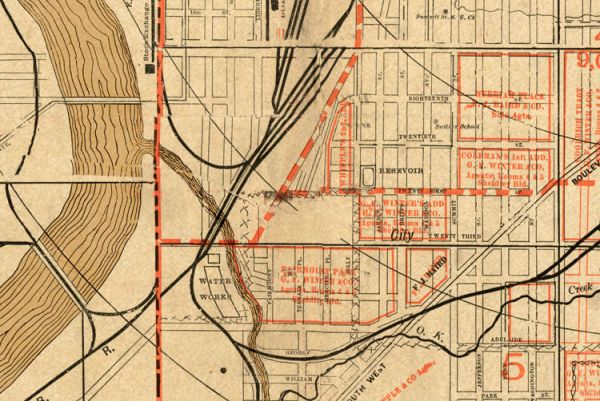 Vintage map of Kansas City Missouri 1886 OLD MAPS AND