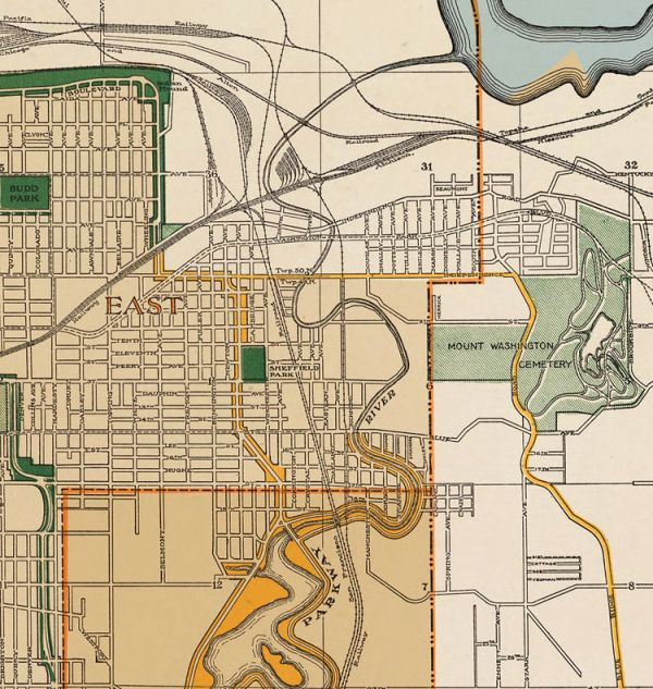 Vintage map of Kansas City Missouri 1915 OLD MAPS AND