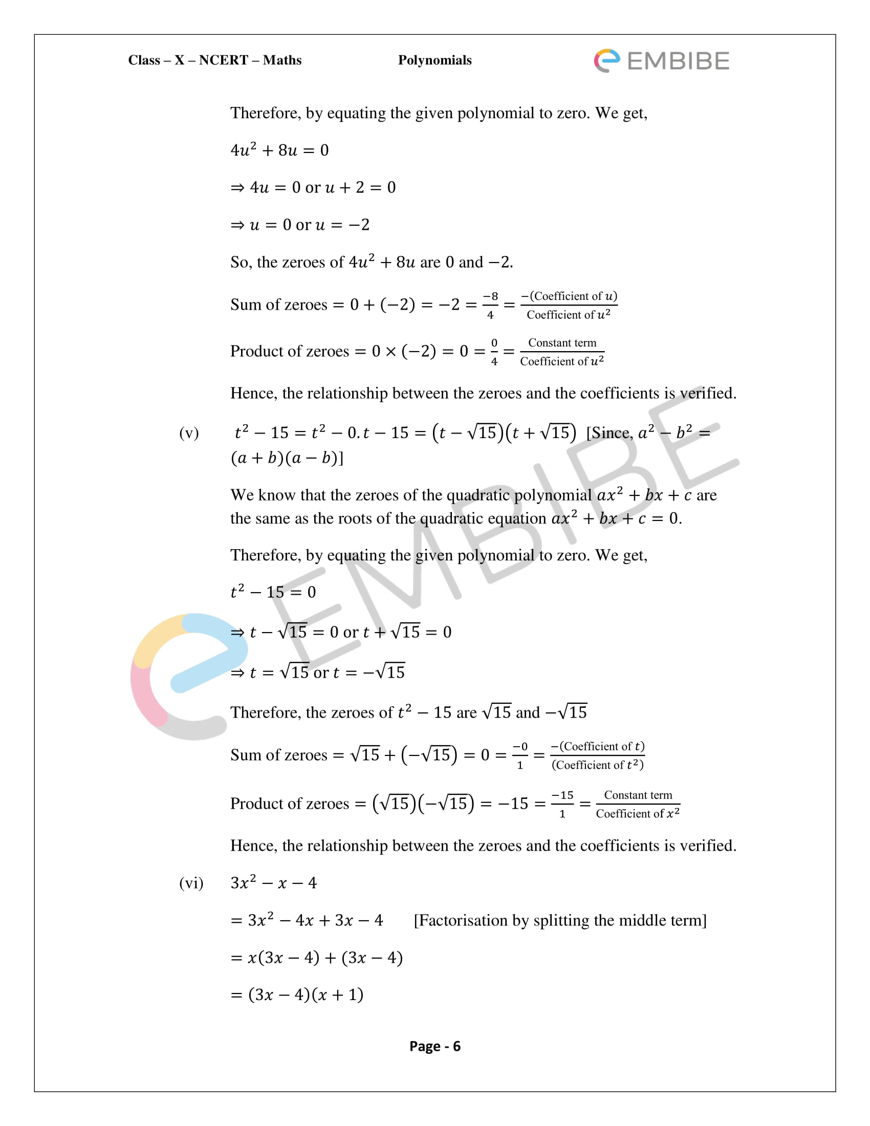 Ncert Solutions For Class 10 Maths Chapter 2 Polynomials Download
