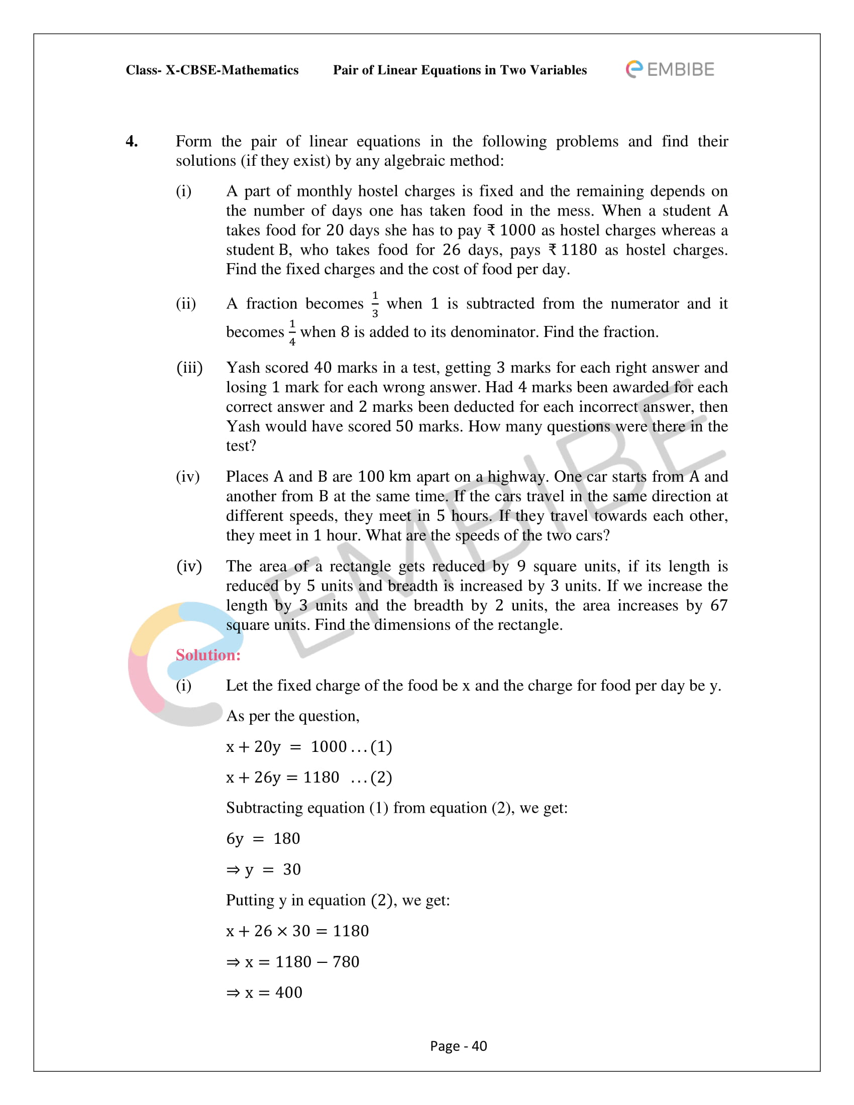 Ncert Solutions For Class 10 Maths Chapter 3 Pair Of