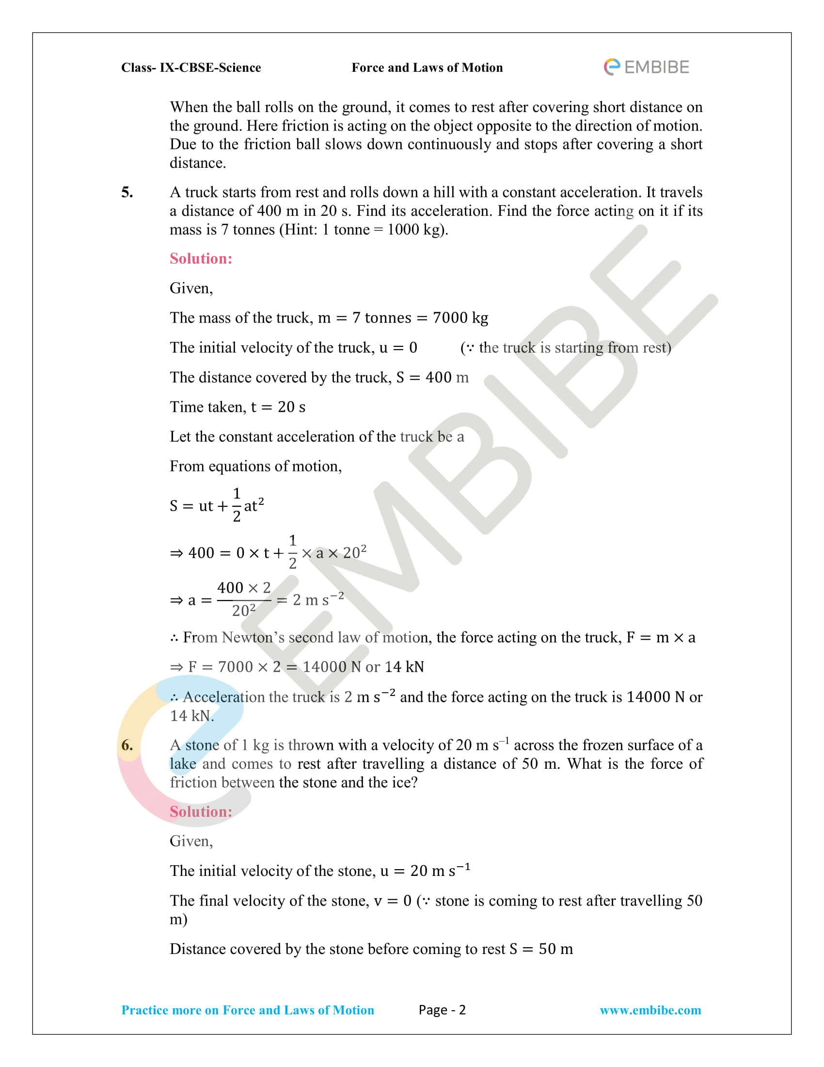 Ncert Solutions For Class 9 Science Chapter 9 Force And