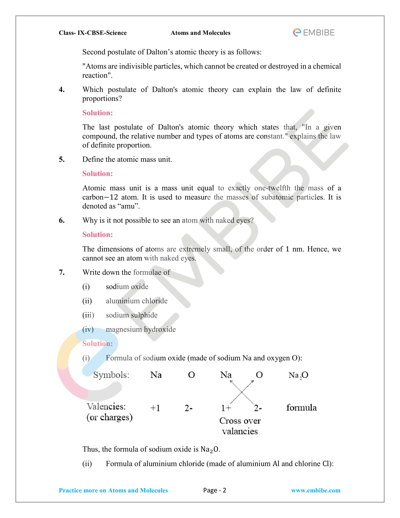 hight resolution of NCERT Solutions For Class 9 Science Chapter 3: Download Atoms \u0026 Molecules  Solutions PDF