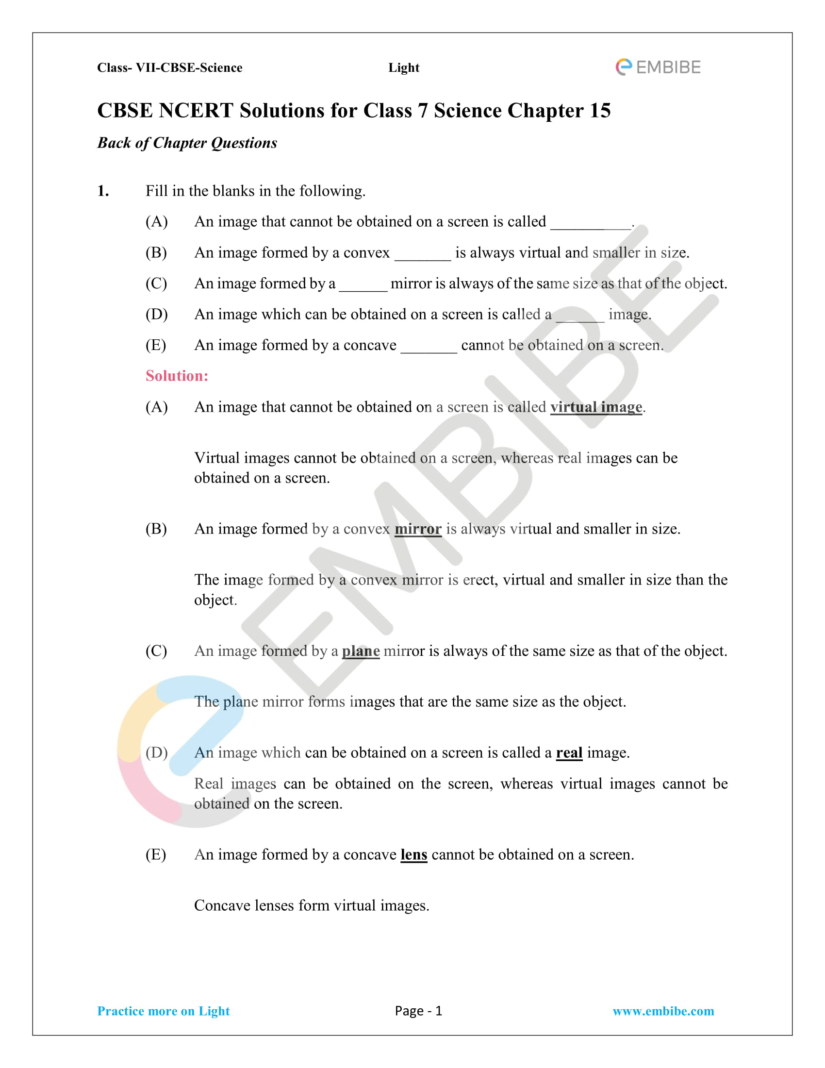 Ncert Solutions For Class 7 Science Chapter 15 Light