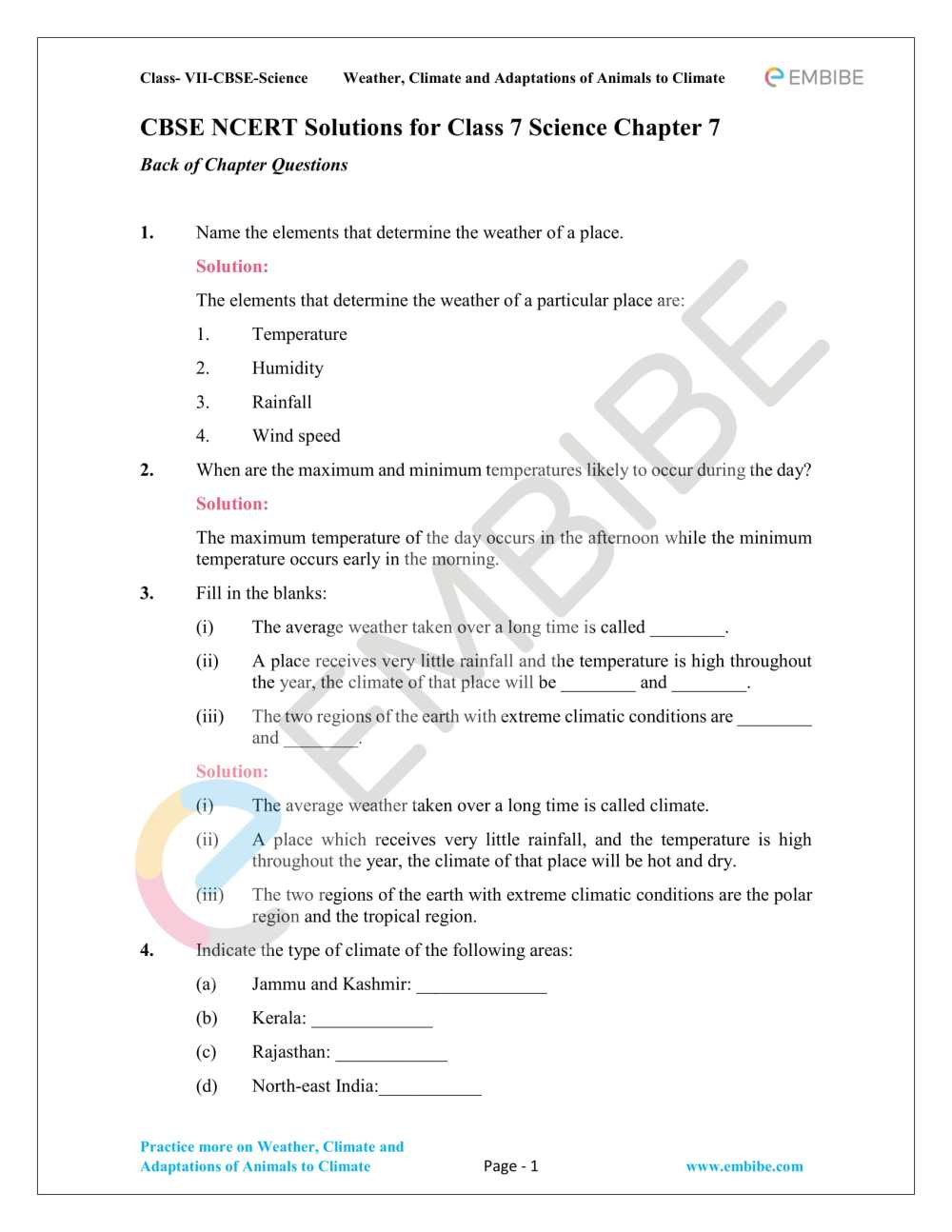 medium resolution of NCERT Solutions For Class 7 Science Chapter 7 Weather