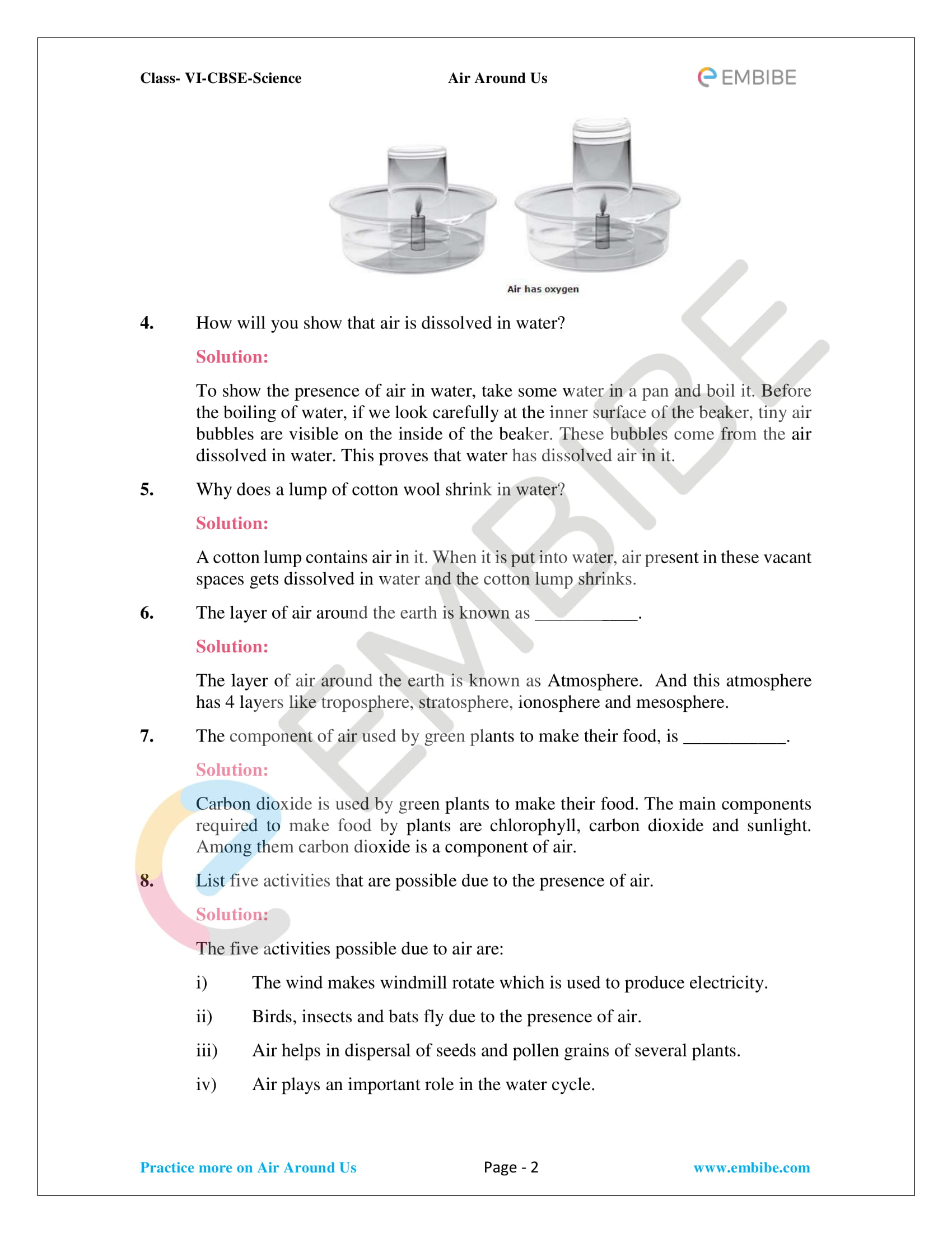Ncert Solutions For Class 6 Science Chapter 15 Air Around