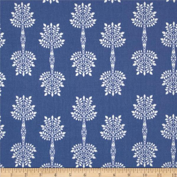 Art Safari Moon African Palm Indigo - Designer Fabric