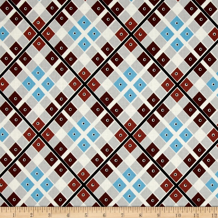 Designed by Denyse Schmidt for Free Spirit Fabrics this groovy reproduction cotton print collection: Katie Jump Rope features colorways and patterns inspired by the 70's in 100% quilting cotton. These retro fabrics would be perfect for a retro inspired quilt paper pieced or machine pieced. Maybe a Grandma's flower garden quilt for the smaller prints. Your retro-mod kitchen would look great with one of these fabrics as a cafe curtain. Some other ideas include vintage inspired apparel or other home decor accents like hippy-style throw or toss pillows. Colors include shades of brown off-white black blue and grey. This particular fabric features an interesting plaid design interspersed with small dots that resemble eyes. This plaid is reminiscent of a retro 70's shirt all that's missing is that platform shoes and some disco music.