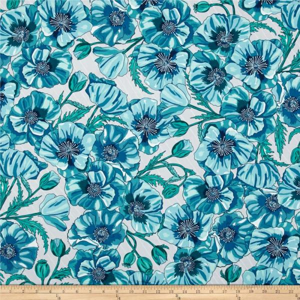Kaufman In Bloom Large Flowers Turquoise