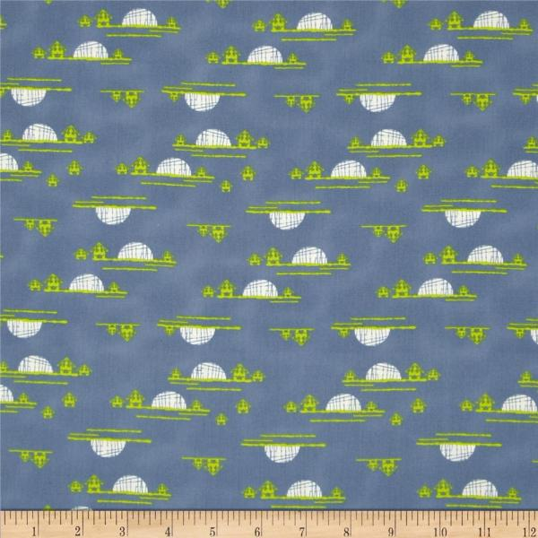 Art Safari Moon Village Horizon Set - Designer Fabric