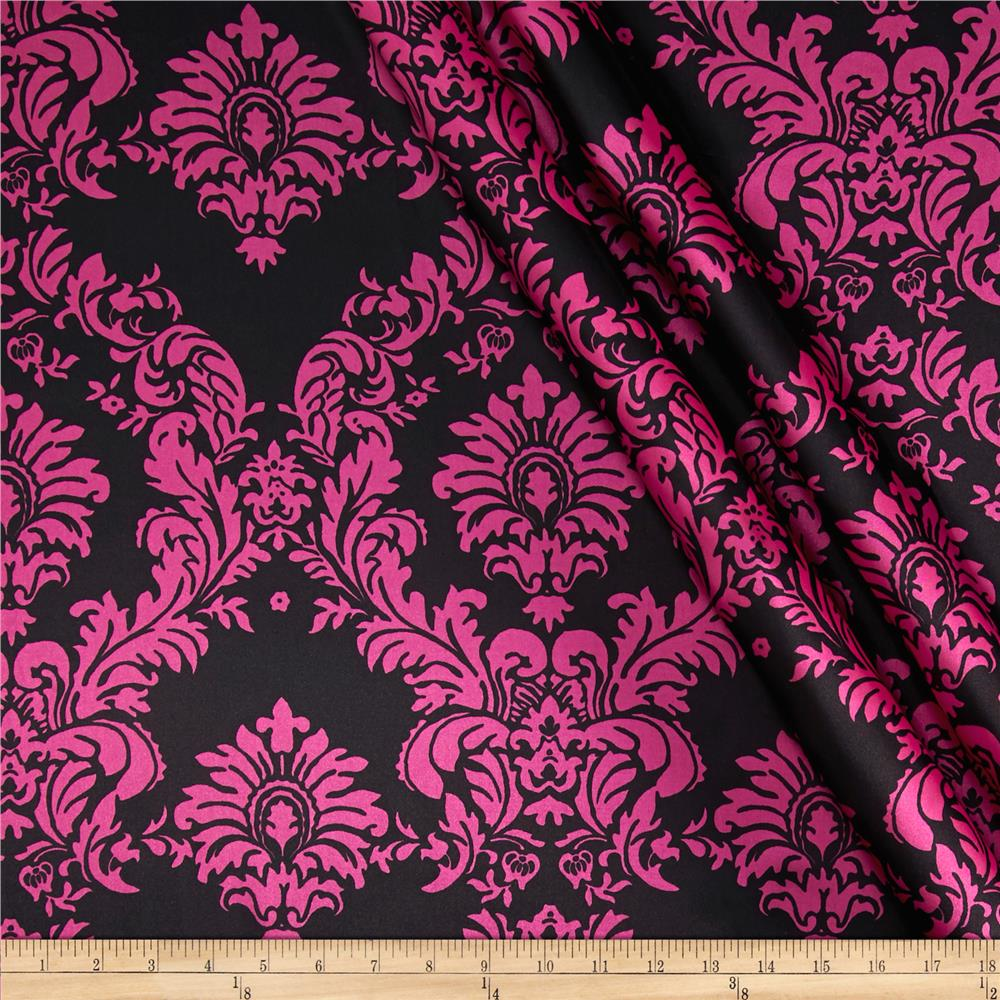 Black Skull Damask Wallpaper Charmeuse Satin Damask Black Fuchsia Discount Designer
