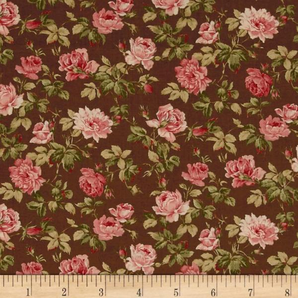 Chocolate and Roses Moda Fabric