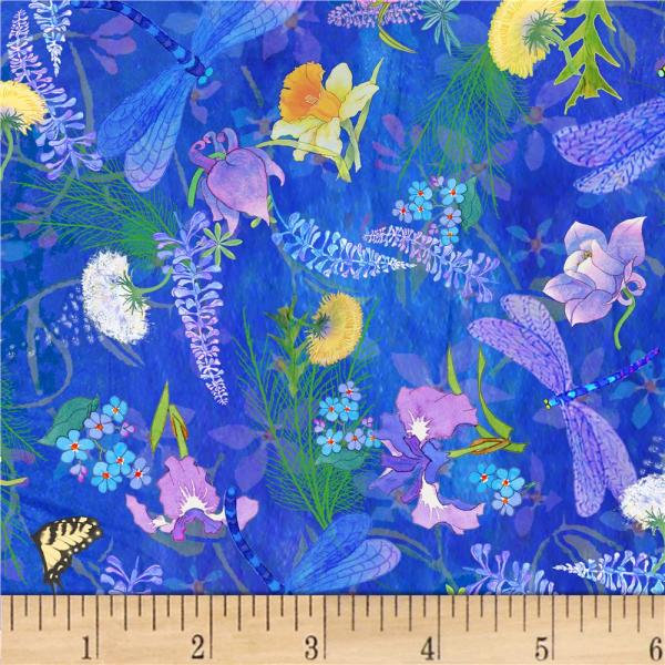 & Textiles Nature' Floral Dragonfly Blue