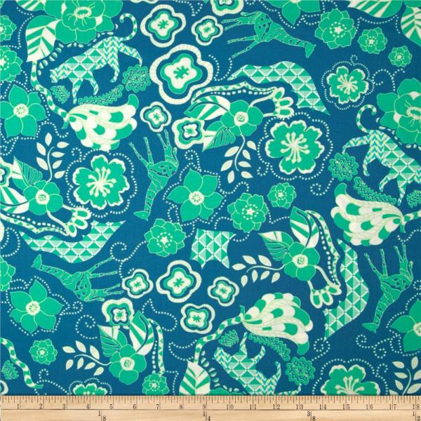 Art Safari Moon Wild Life Waterfall - Designer Fabric