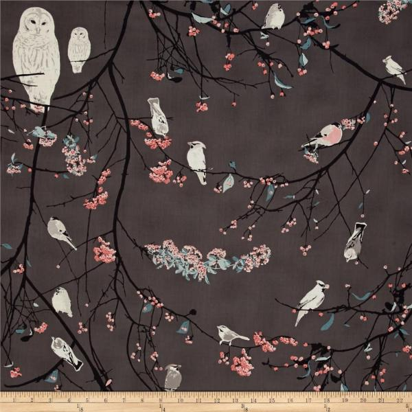 Art Blithe Voile Bird Songs Moon - Designer Fabric