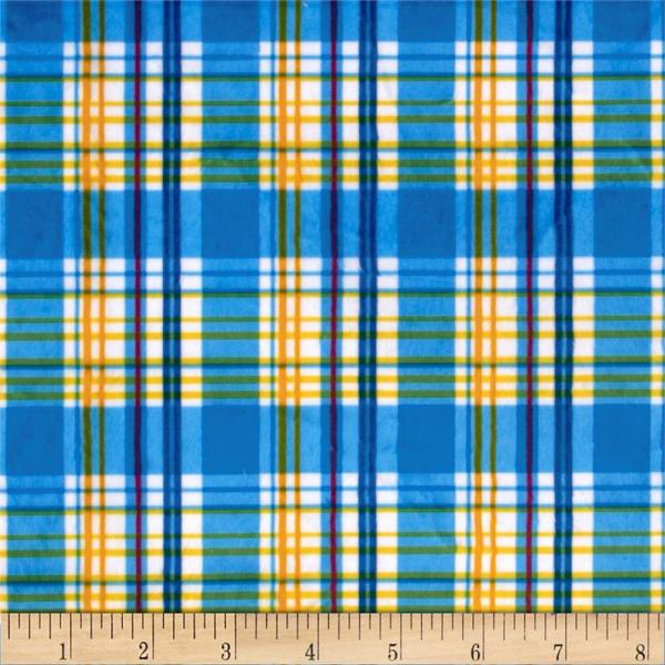 Minky Candy Plaid Blue Yellow - Designer Fabric
