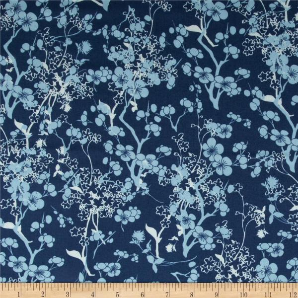 Art Voile Branch Silhouette Blue