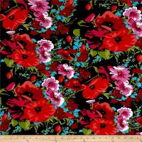 Dakota Jersey Knit Floral Print Poppy/Black - Discount ...
