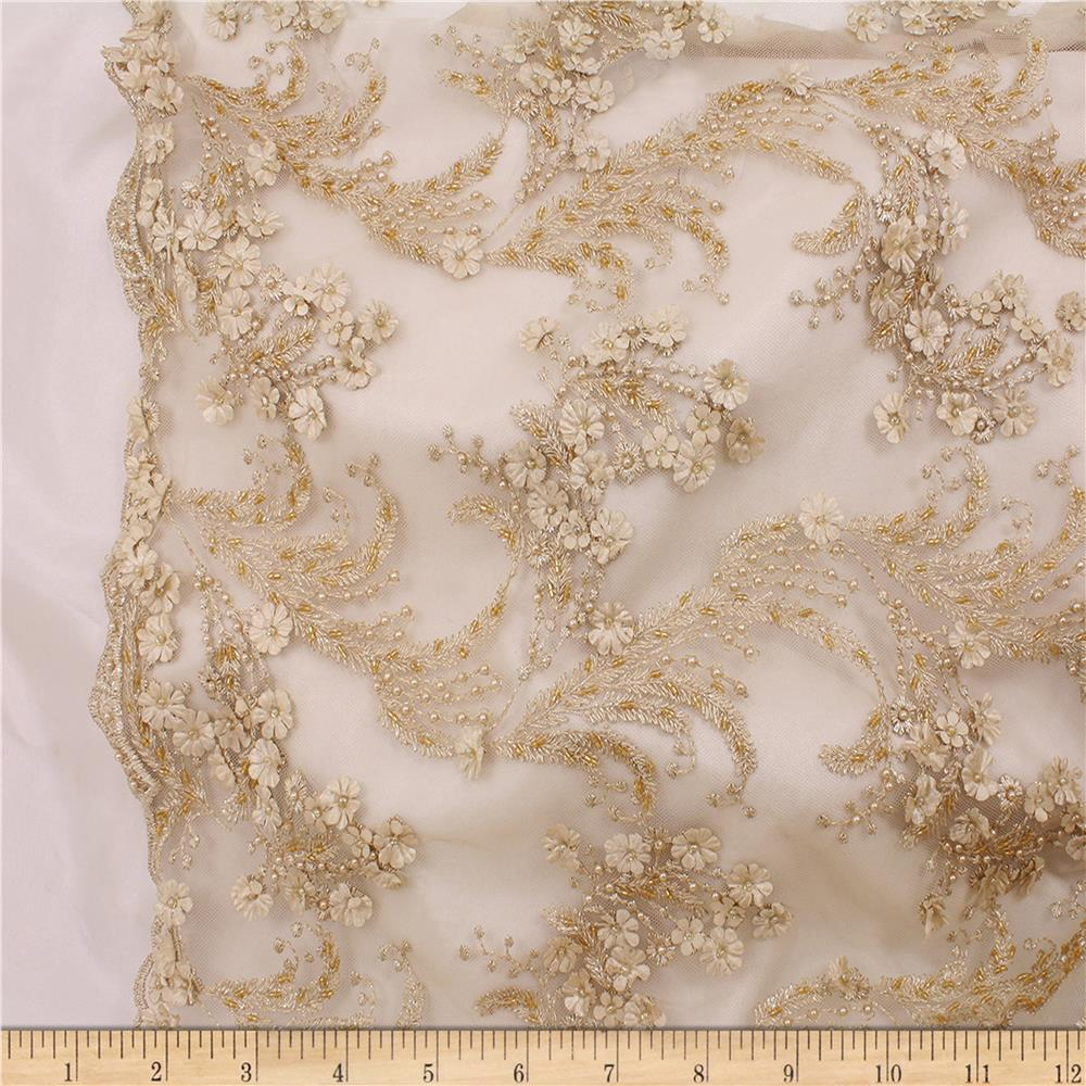 Telio Lindie Lace Mesh Beaded Floral Lace Gold Discount Designer Fabric