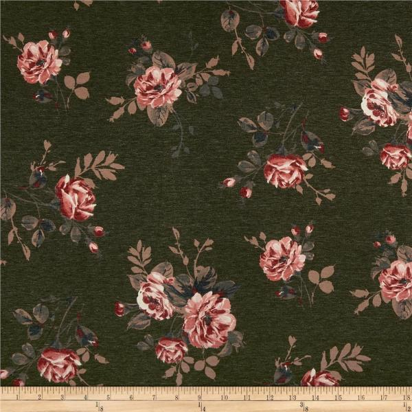 California Stretch French Terry Roses Olive Mauve