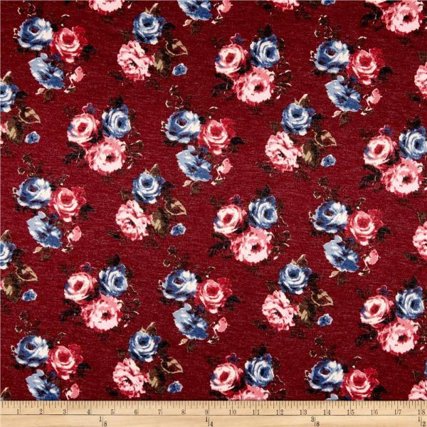 California Stretch French Terry Rose Bouquet Burgundy