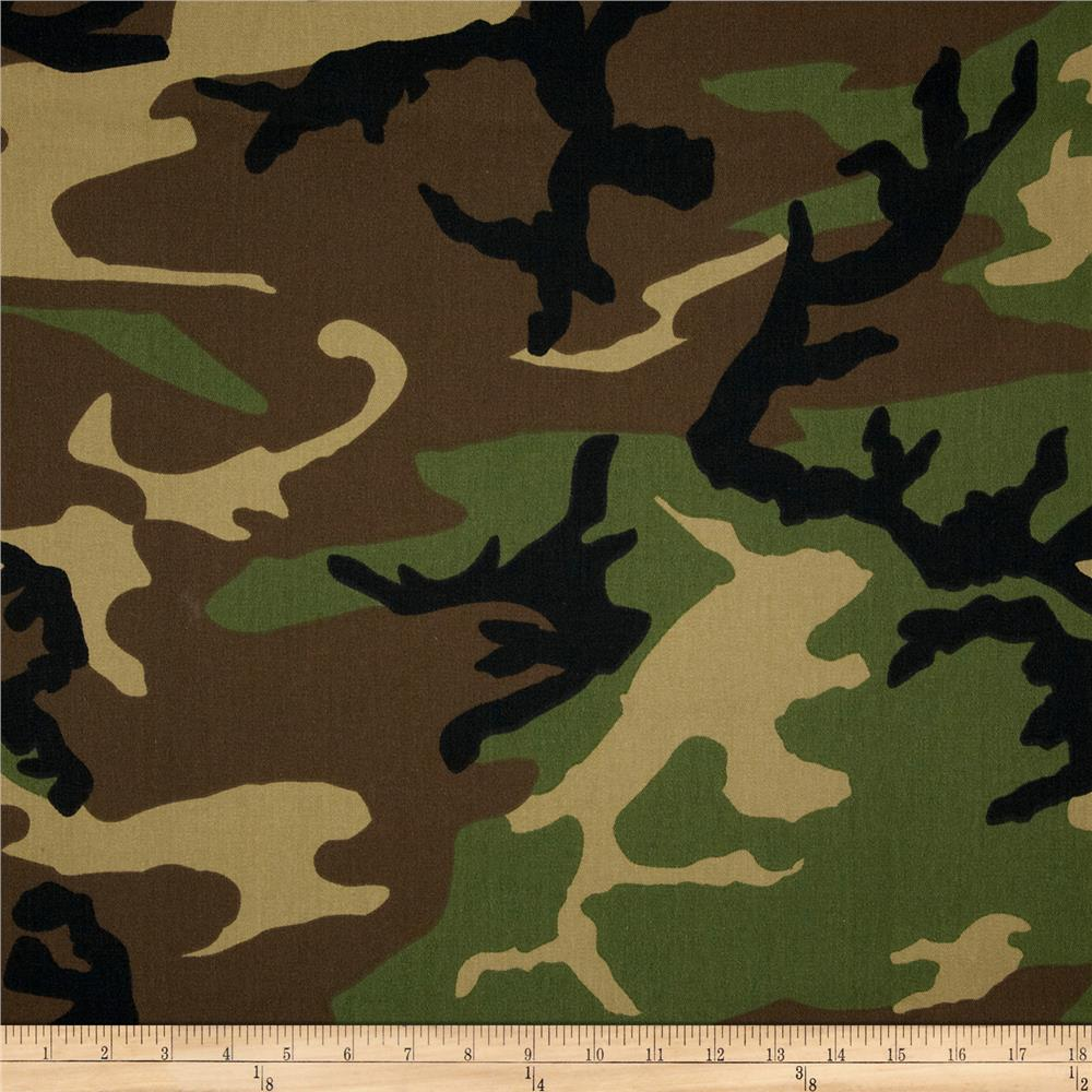 poly cotton twill woodland