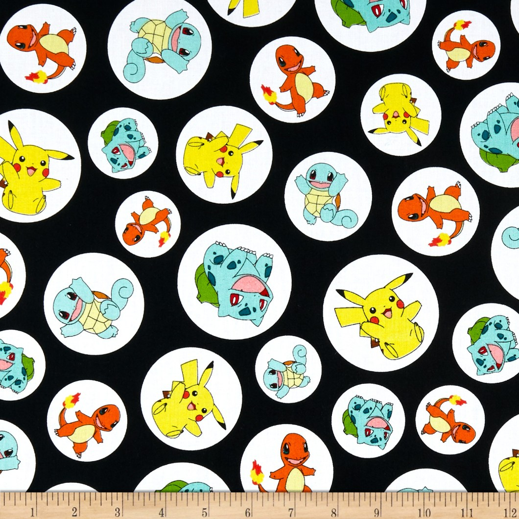 Kaufman Pokemon Charactures Black Fabric