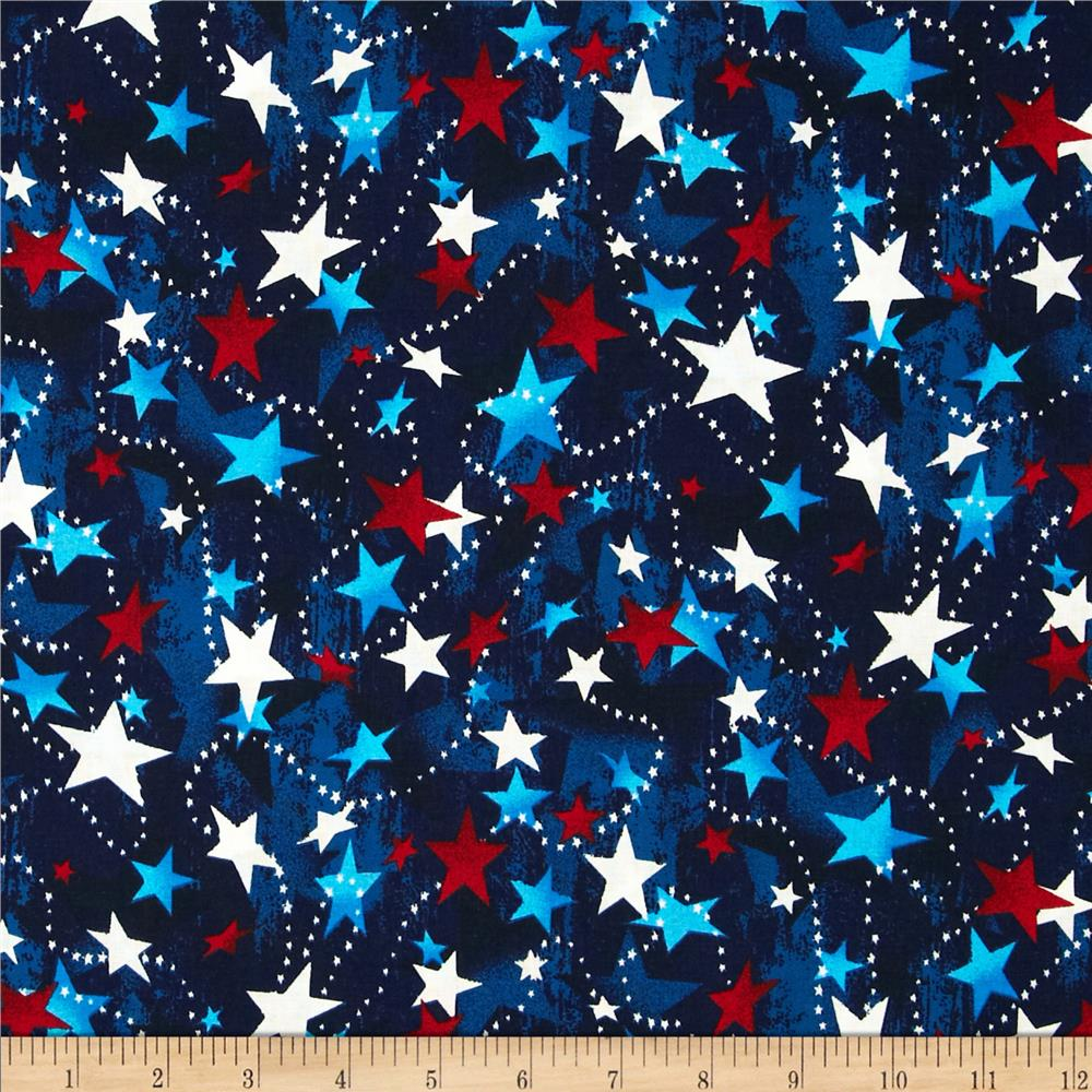 Made in the USA Stars Red White Blue  Discount Designer Fabric  Fabriccom